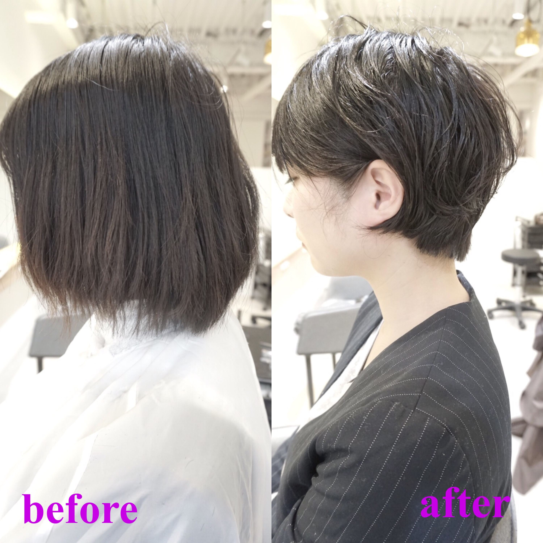 梳かれすぎた髪の対策。まとまりにくいボブをしっかりショートに切り直し。渋谷でまとまりやすいショートに。