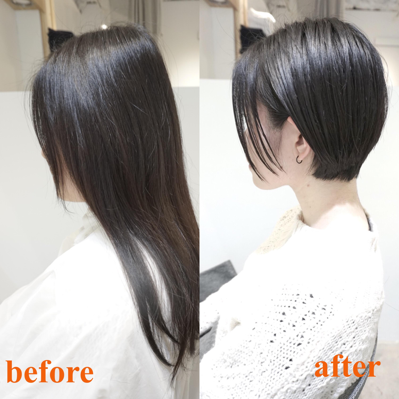ロングからショートやショートボブにバッサリと。渋谷の美容室で前髪なしのショートボブに。