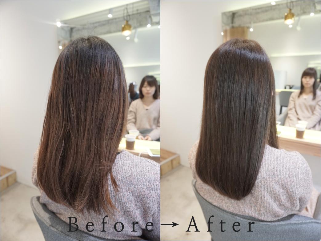 ロングなのに毛先がハネる髪のお悩み。渋谷でカットだけでまとまるスタイルに。